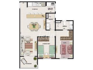 PLANTA - Apartamento 2 Dormitórios